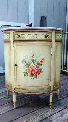 VTG 1950's IMPERIAL Furniture Painted Wood Cottage Chic Demilune Console Cabinet