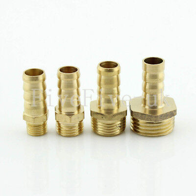 "10mm 1/8""1/4""3/8""1/2"" Brass Barbed Hose Tube Fuel Pipe Fitting Coupler Connector"