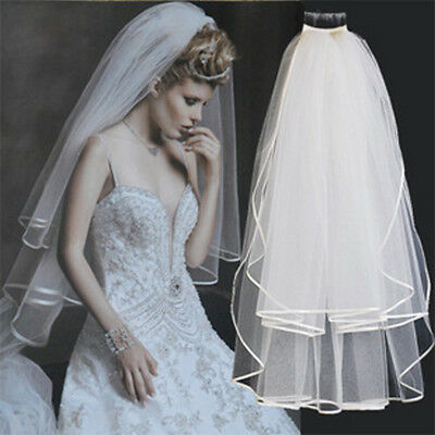 New 2T Elbow Length Wedding Bridal Veil with Comb Veil for Brides White/Ivory
