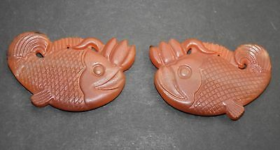 Rare Chinese (Liao Jin) Dy Old Agate Carnelian Carved Pair Fish (Pendant)