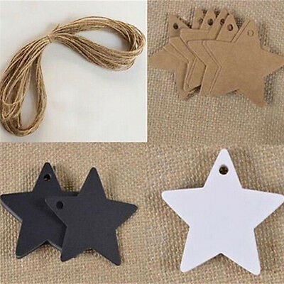 100x Star Kraft Paper Wedding Party Favor Gift Card Price Label Luggage Tags NAL