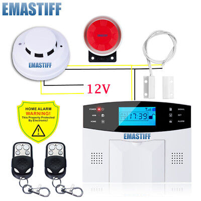 GSM Wired Alarm System Built-in Antenna Home Security Alarm with Smoke Detector