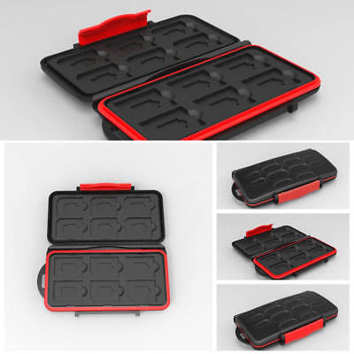 Waterproof Holder Storage Memory Card Protector Case Fits 12 SD+12 Micro SD Card