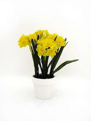 Artificial Daffodil Pot Silk Potted Yellow Daffodils 30 Flowers 37cm