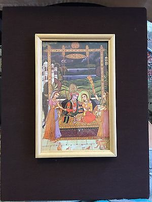 Beautiful India Hindu framed print mounted on cloth covered mat Wedding gift