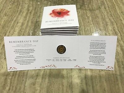 2015 Australian $2 Two Dollar Remembrance Day Orange 'C' Mint Mark Coin On Card