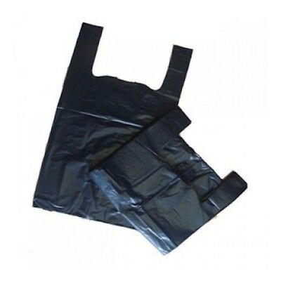 100 x Strong Plastic Vest Carrier Bags For Supermarkets Stalls ARIES(BLACK)