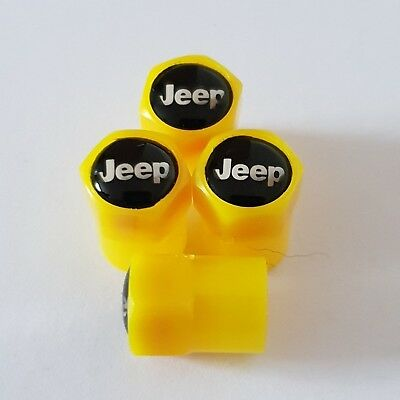 JEEP BLACK YELLOW Plastic Wheel Valve Dust caps all models 7 colours WRANGLER