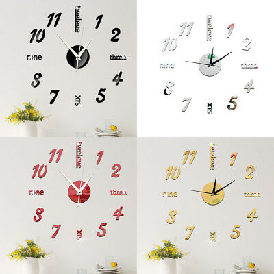 Modern DIY wall clock sticker small/ large number 3d mirrors surface home AOZY