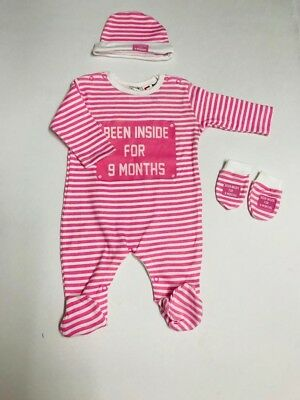 Pink Girl Been inside for 9 months Baby Clothes Sleepsuit/Babygrow set 6-9