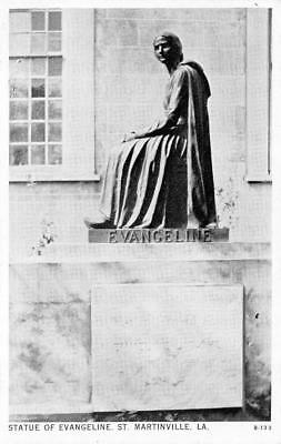 ST MARTINVILLE, LA Louisiana  STATUE & TOMB OF EVANGELINE Black & White Postcard