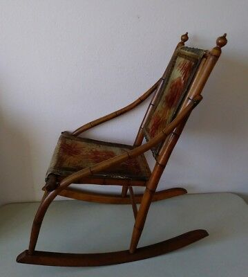 Antique American Victorian Eastlake Faux Bamboo Rocking Chair Old Dog Cover