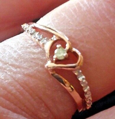 5de11f792eb 10K ROSE GOLD Diamond Accent Heart Band Promise Ring Sz  7 -  109.99 ...