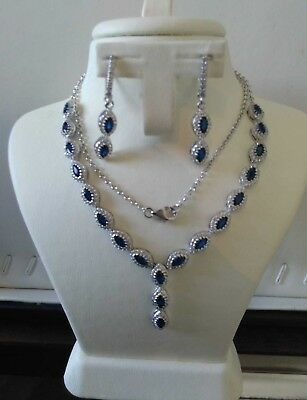 AAA Quality - 925 Sterling Silver Jewelry Blue Sapphire & White Cz Ladies Set