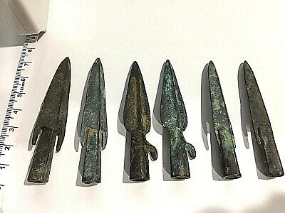 Lot (6) Samurai Ancient Medieval Iron Cross Bow Bolt Arrowhead Old Century Ad