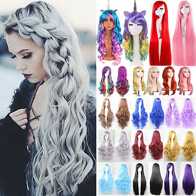 Women's Long Hair Full Wig Curly Straight Wigs Party Costume Anime Cosplay Prop