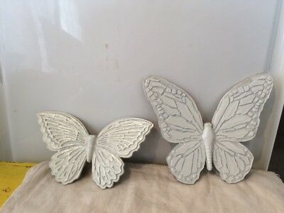 2 White Homco 7041 Butterfly Wall Plaques
