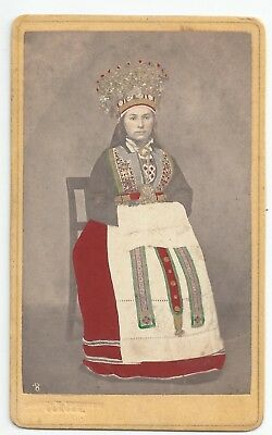 CDV Tinted Bride from Hardanger Sweden Norway Bergen Knudsen 1870er