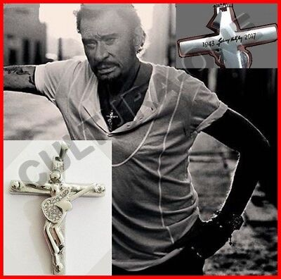 PENDENTIF CROIX JOHNNY HALLYDAY Repro de l'ORIGINAL! GUITARE + SIGNATURE + DATES