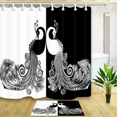 Funny Black and White Peacock Shower Curtain Bathroom Decor Fabric & 12hooks