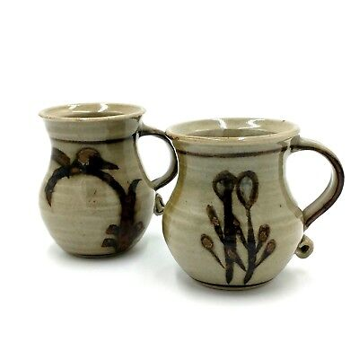 2 Retro Handcrafted Australian Pottery Coffee Mugs 200mls Signed Vintage