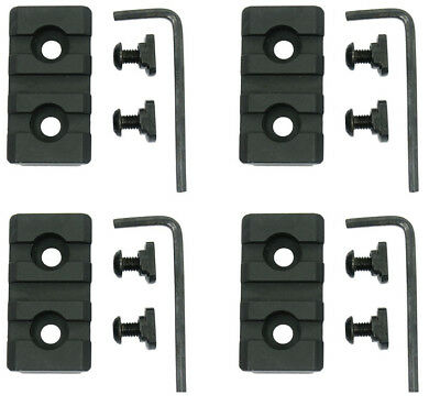 4PCS Steel 3 Slot Picatinny Weaver Rail Section for M-Lok MLOK Handguards Black