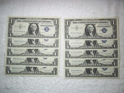 1957 Silver Certificates Blue Seal 3 CONSECUTIVE nice UNCIRCULATED (10 NOTES)