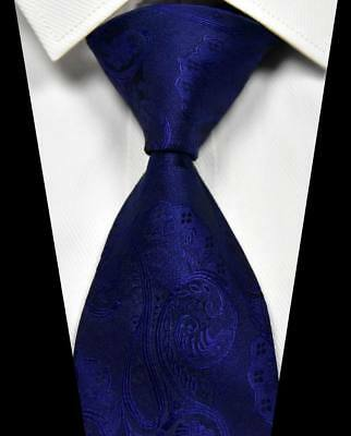 Hot Classic Solid Paisley Dark Blue 100% Silk Men's Necktie Neck Tie 3.15''(8CM)