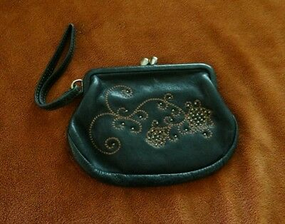 FOSSIL Change Purse Genuine Leather Brown Carry Strap Vintage