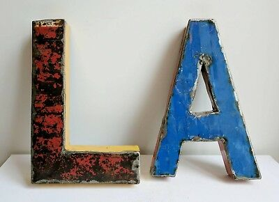 Vintage French Enamelware Letters in Blue and Red Enamel