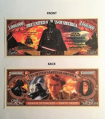 RARE: Darth Vader Star Wars $1,000,000 Novelty Note, Movies Buy 5 Get one FREE