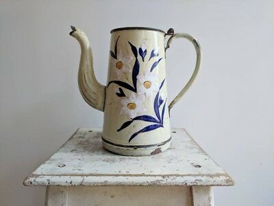 Vintage French Enamelware Coffee Pot in Cream Enamel With Floral Design