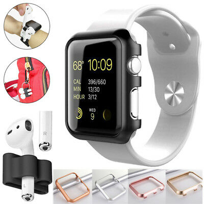 For Apple Watch iWatch Series 4 Bumper Metal Thin Cover + Airpods Strap Holder