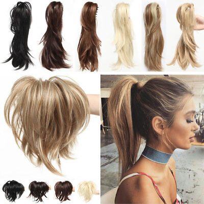 100% Natural Short Clip in Hair Extension Claw on Ponytail Curly Real As Human H