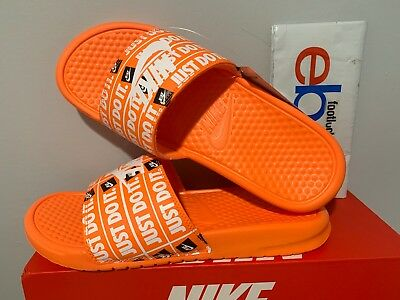 meet b99ff c6599 Nike Benassi JDI Just Do It Print Slides Orange White Slide 631261-800 Size  7