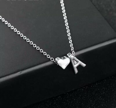 INITIAL A-Z LETTER Heart Pendant Necklace Silver Tone Personalized Name 18
