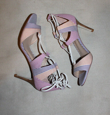 58aa73bff634 Anthropologie BILLY ELLA Striped Lace Up Heels Sandals Shoes Purple 7 8 8.5