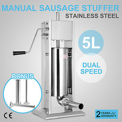 5L Sausage Stuffer MakerMachine Meat Filler Meat Press With 4 Tubes Vertical