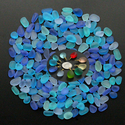 Sea Beach Glass Beads Mixed Color Bulk Blue Purple Jewelry Pendant 10-16mm
