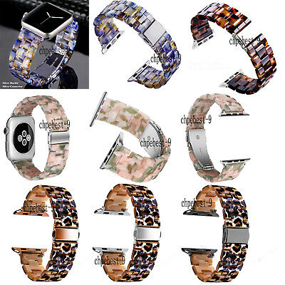Leopard Tortoise Resin Watch Band Strap Bracelets For Apple iWatch 38 40 42 44mm