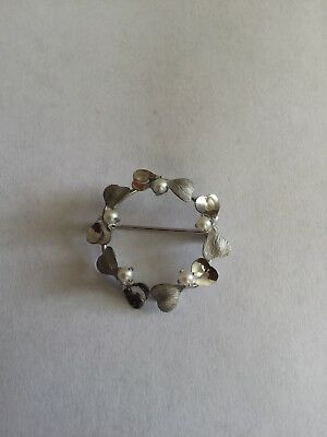 925 Sterling Silver Cultured Pearl Circle Pin/Brooch