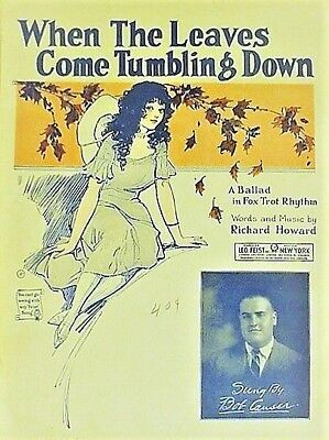 "SHEET MUSIC (vintage) ""WHEN THE LEAVES COME TUMBLING DOWN"" 1924 - (7 of 10)"