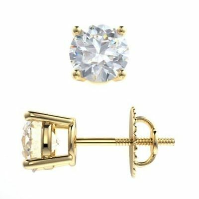 14k Yellow Gold Forever One Round cut 2 ct  Earrings Moissanite Stud