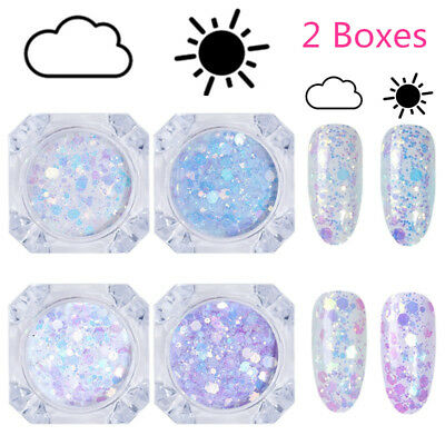 2X Sun Light UV Nail Art Changing Color Mix Size Glitter Powder Flakes Chameleon
