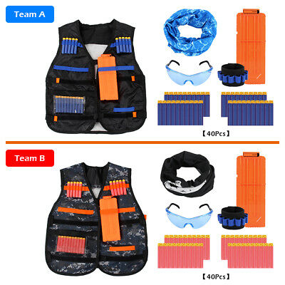 2X Kids Tactical Nerf Vest Gun Bundle Suit Military/ Fishing Set Outdoor Games
