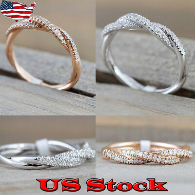 Women 14K Solid Rose Gold Stack Twisted Zircon Ring Wedding Party Jewelry Gifts
