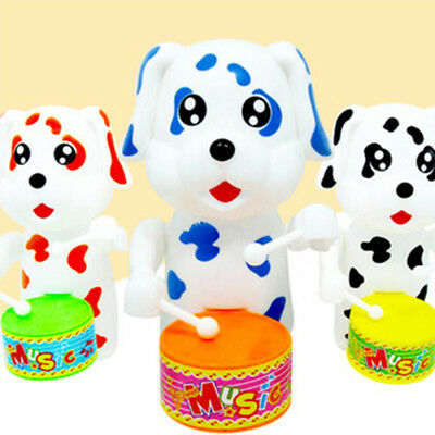 Colorful Cute Dog Drumming Clockwork Wind-Up Toy Kid Baby Educational Toy