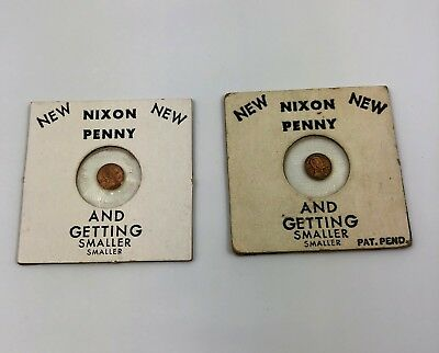 President Richard Nixon Penny and Getting Smaller Vintage Joke Coin Token