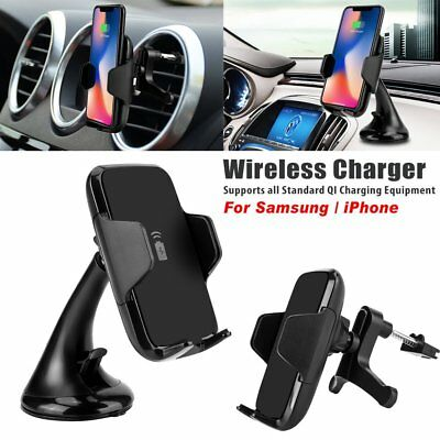 Qi Wireless Car Charger Mount Holder For iPhone XS Max 8 Samsung Galalxy S9 Note