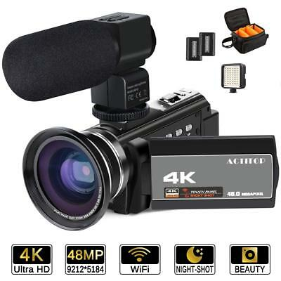 4K Camcorder HD 48MP Digital Video Camera 16X Touch Screen WiFi Night Vision